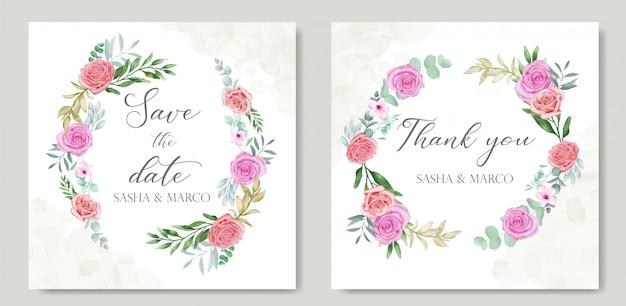 Floral frame voor bruiloft uitnodiging