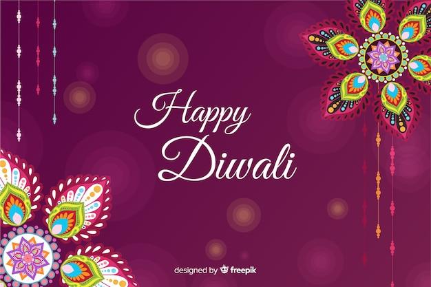 Floral frame voor diwali-evenement in plat ontwerp