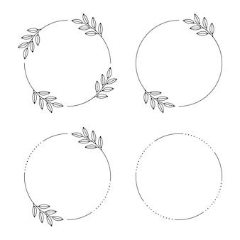 Floral frames cirkel van bladeren. vintage ronde frame met wilde bloemen.