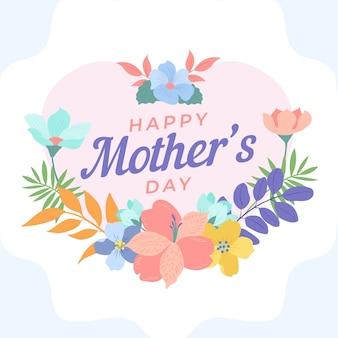 Floral gelukkige moederdag en krans van bloemen