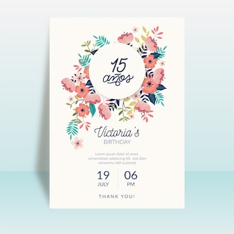 Floral gelukkige verjaardagskaart thema