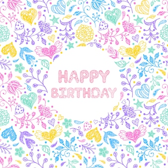 Floral Gelukkige verjaardagskaart