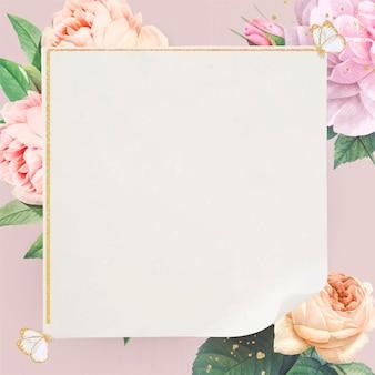 Floral gouden vierkante frame vector