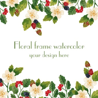 Floral grens frame lente uitnodiging aquarel