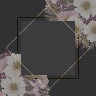 Floral grens, gouden frame sjabloon