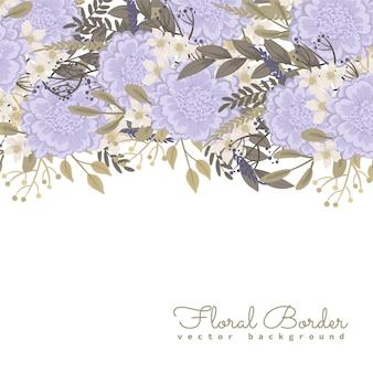 Floral grens met zoete paarse bloemen