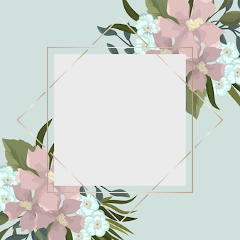 Floral grens - roze bloemenrand