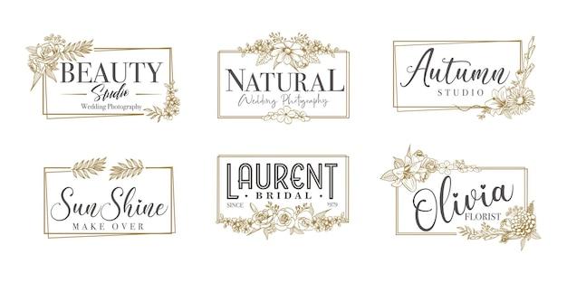 Floral grenskader voor bruiloft, spa, bloemist en boetieklogo