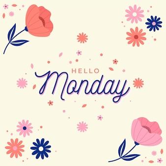 Floral hallo maandag achtergrond