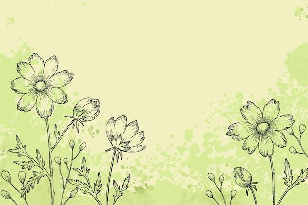 Floral hand getekend achtergrondontwerp