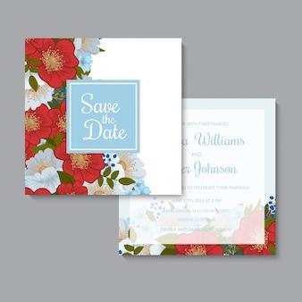 Floral hand tekenen bruiloft uitnodiging sjabloon