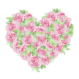 Floral hart voor valentijnsdag. elegante bloemencollectie met prachtige rozen en bladeren in handgetekende aquarel, bruiloft of wenskaarten.