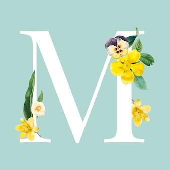 Floral hoofdletter m alfabet vector
