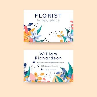 Floral horizontale visitekaartje set