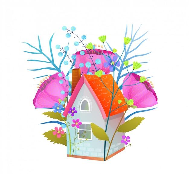 Floral huis vlakke afbeelding