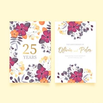 Floral huwelijksverjaardag uitnodiging
