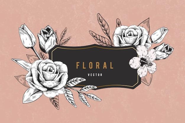 Floral ingelijste achtergrond