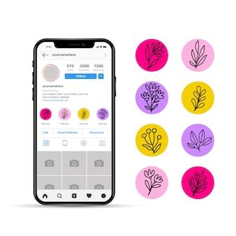 Floral instagram verhalen hoogtepunten ontwerp