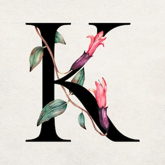 Floral k letter lettertype romantische typografie