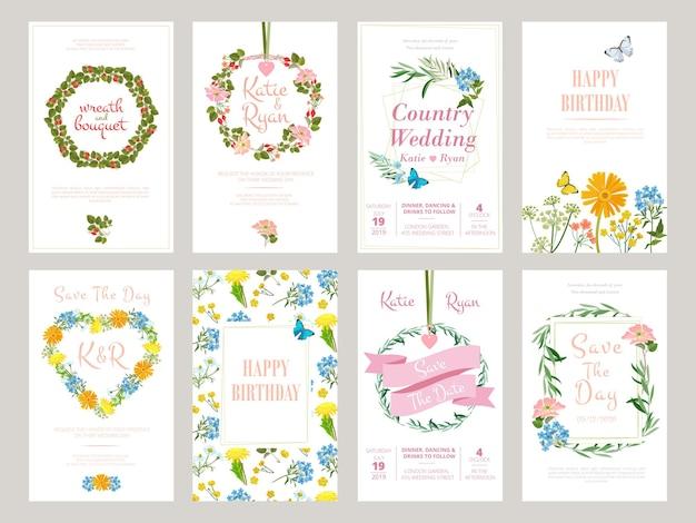 Floral kaarten. botanische illustratie voor plakkaat uitnodiging wilde bloemen gebladerte sjabloon.