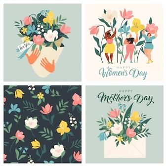 Floral kaarten voor moeder en vrouwendag set