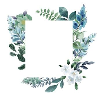 Floral kaartsjabloon koel groen en bloemen