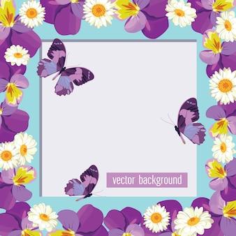 Floral kaartsjabloon met leeg frame.