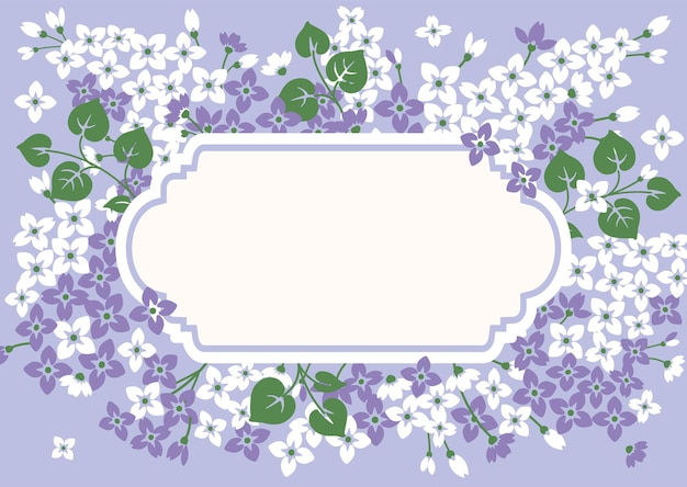 Floral kaartsjabloon met lila en leeg frame