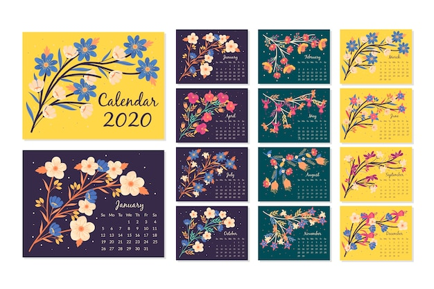 Floral kalender 2020 sjabloon set