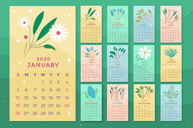 Floral kalendersjabloon