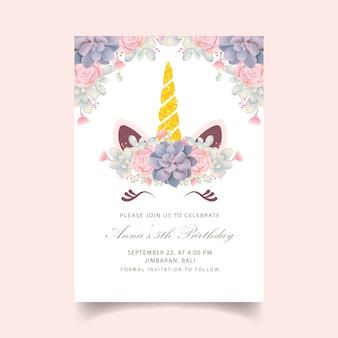 Floral kinderen verjaardagsuitnodiging met schattige eenhoorn