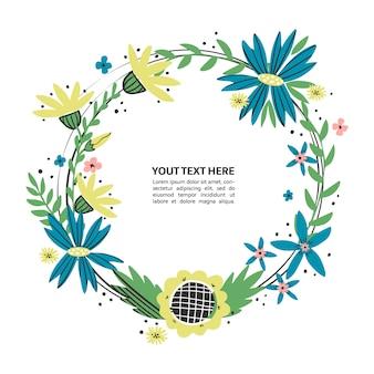 Floral kostganger met hand getrokken bloemen. wilde bloemen krans plaats voor uw tekst. kleurrijke doodle tekstkader voor poster, artikel, uitnodiging, babydouche, kaart.