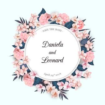 Floral krans huwelijksuitnodiging