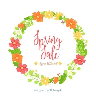 Floral krans lente verkoop achtergrond