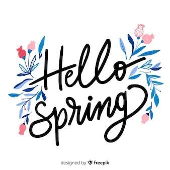Floral lente belettering achtergrond Gratis Vector