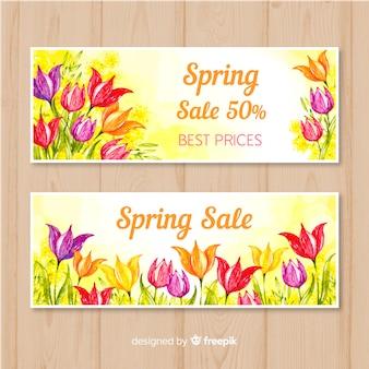 Floral lente verkoop banner