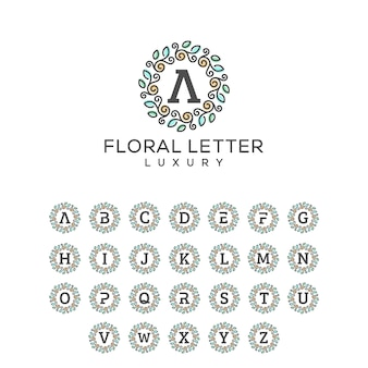 Floral letter pack concept illustratie vector sjabloon