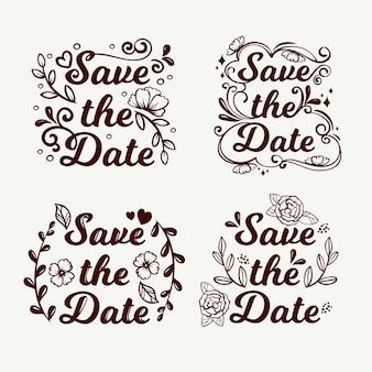 Floral letters met sparen de datum bruiloft tekst