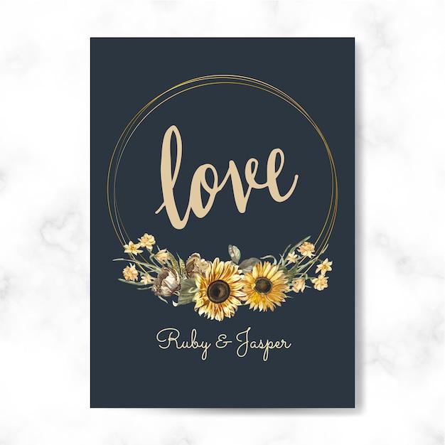 Floral liefde kaart mockup vector