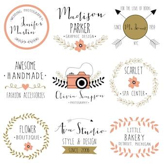 Floral logo-frame ingesteld voor bruiloft, branding.