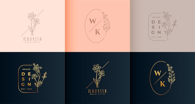 Floral logo monogram collectie set