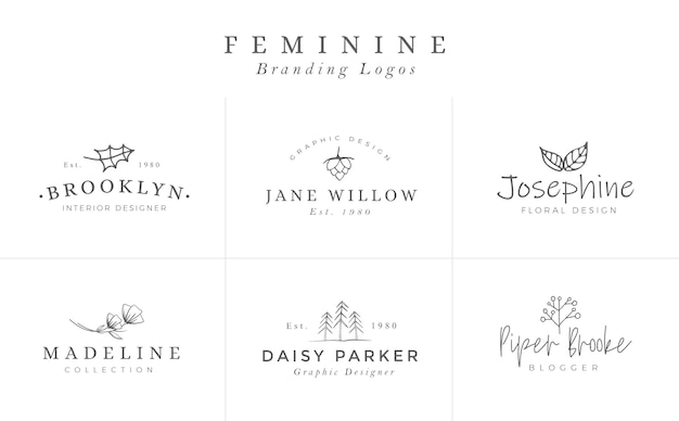 Floral logo sjablonen. vector minimalistische logo's. rustieke elegante logotypes