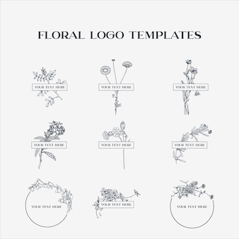 Floral logo sjablonen