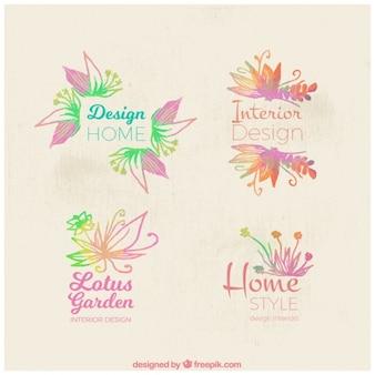 Floral logos in aquarel stijl