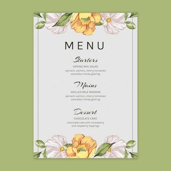 Floral menu voor bruiloft