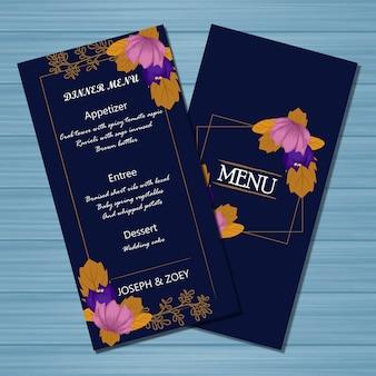 Floral menu wedding card met herfst bloemen