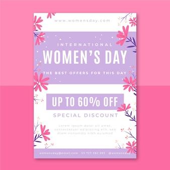 Floral minimalistische vrouwendag flyer