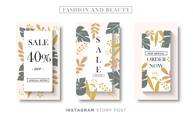 Floral mode en beauty banner sociale media of instagram verhaalsjabloon