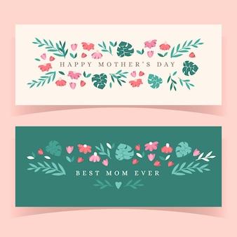 Floral moederdag banners instellen