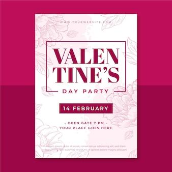 Floral monocolor valentijnsdag poster